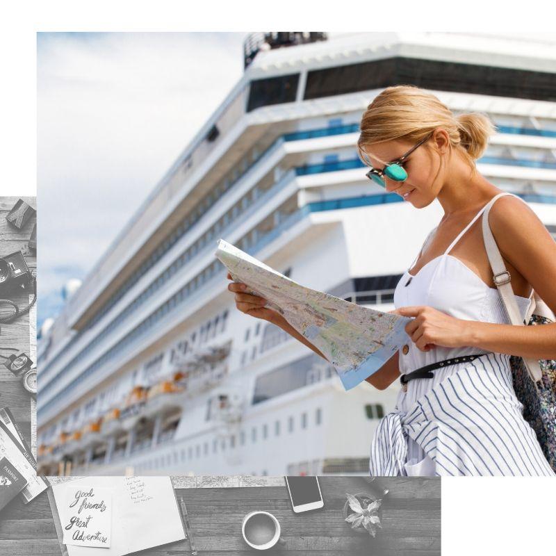 Mujer bajando de crucero