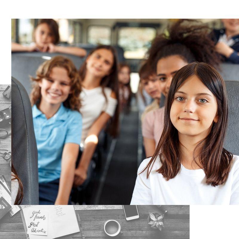 Estudiantes en autocar